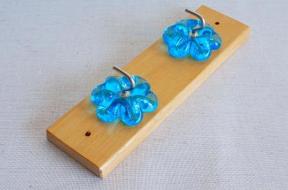 北欧インテリアフック(ブルー 花)スウェーデン