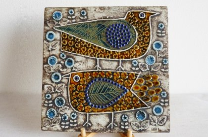 GUSTAVSBERG グスタフスベリ Lisa Larson リサ・ラーソン 陶板画 UNIK ユニック 二羽の鳥 FAGLAR