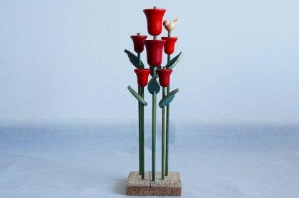 北欧フィンランドで見つけた aarikka アーリッカ 花のオブジェ(チューリップと小鳥)
