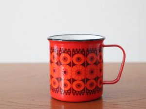 FINEL フィネル ホーローマグカップ (赤花柄)