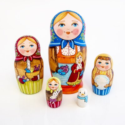 マトリョーシカ / 花束とお人形 / 5pieces / エレーナ・イヴァンツォーヴァ作