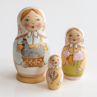 マトリョーシカ / りんご / 3pieces / エレーナ・イヴァンツォーヴァ作
