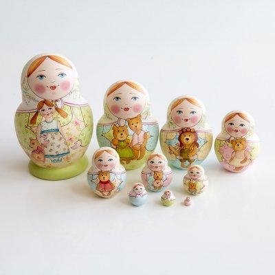マトリョーシカ / 猫とりんご / 3pieces / エレーナ・イヴァンツォーヴァ作