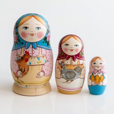 マトリョーシカ / にわとり / 3pieces / エレーナ・イヴァンツォーヴァ作