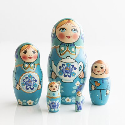 マトリョーシカ / グジェリのティーポット  / 5pieces / ナデェージダ・イヴァンツォーヴァ作