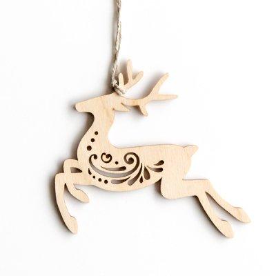 リトアニア / 木製クリスマスオーナメント / 鹿