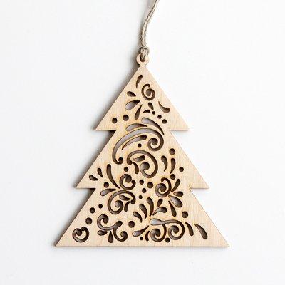 リトアニア / 木製クリスマスオーナメント / もみの木