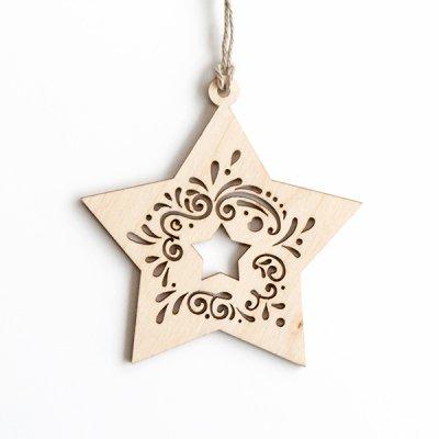 リトアニア / 木製クリスマスオーナメント / 星