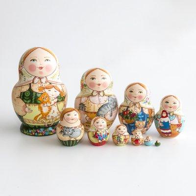 マトリョーシカ / ねことお人形  / 10pieces / エレーナ・イヴァンツォーヴァ作