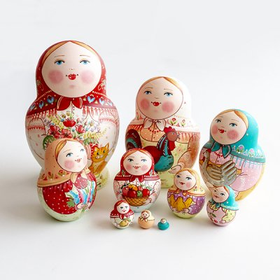 マトリョーシカ / 花束と猫 / 10pieces / エレーナ・イヴァンツォーヴァ作