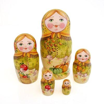 マトリョーシカ / 猫 / 5pieces / エレーナ・イヴァンツォーヴァ作