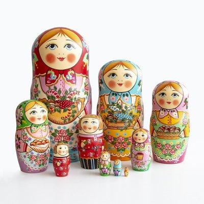 マトリョーシカ / 実りの季節 / ピンクのサラファン / 10pieces / ナデェージダ・イヴァンツォーヴァ作