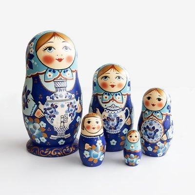 マトリョーシカ / グジェリのサモワール / 5pieces / ナデェージダ・イヴァンツォーヴァ作