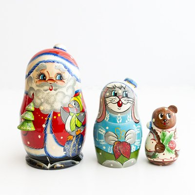 マトリョーシカ / 3pieces / ヴャーツカヤマトリョーシカ / サンタクロース