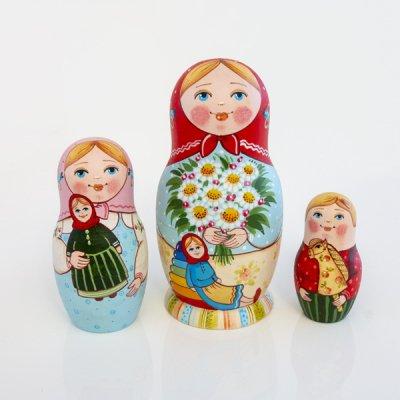 マトリョーシカ / 花束 / 3pieces  / エレーナ・イヴァンツォーヴァ作