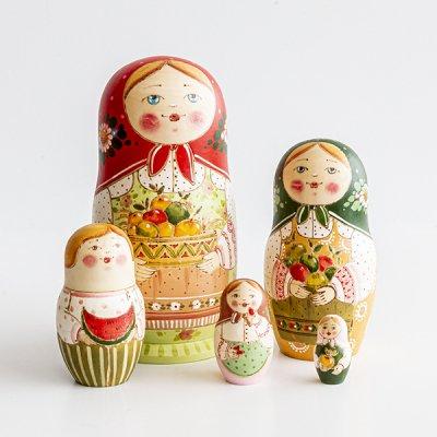マトリョーシカ / りんご / ウッドバーニング / エレーナ・イヴァンツォーヴァ作
