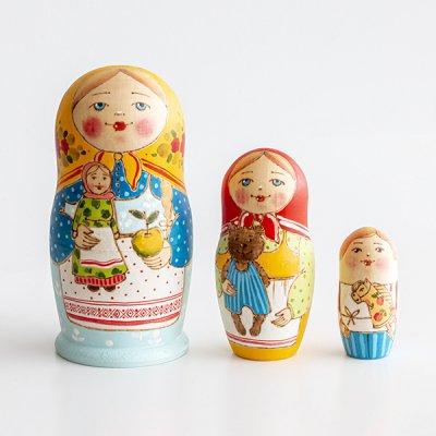 マトリョーシカ / りんごとお人形 / ウッドバーニング / エレーナ・イヴァンツォーヴァ作