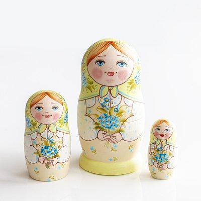 マトリョーシカ / 青い花束 / 3pieces / エレーナ・イヴァンツォーヴァ作