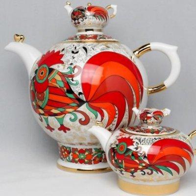 インペリアル・ポーセレン/ヴァラビイェーフスキー/ティーポットセット/赤いオンドリ