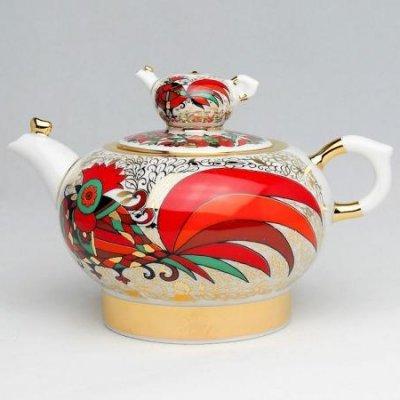 インペリアル・ポーセレン/ヴァラビイェーフスキー/ティーポット/赤いオンドリ