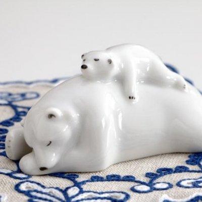インペリアル・ポーセレン フィギュリン 白クマの親子