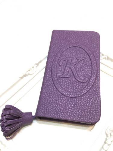 Leather case with Initial  Emboss* イニシャルエンボス レザーケース * パープル