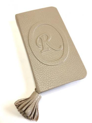 Leather case with Initial  Emboss* イニシャルエンボス レザーケース * シャーロットトープ