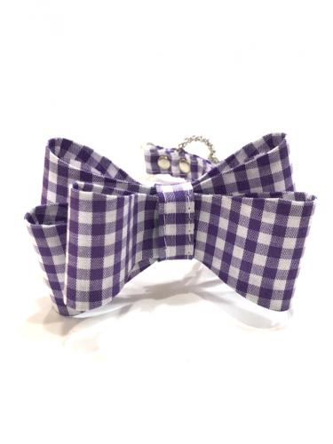 Gingham Big Ribbon  Purple* ギンガム ビッグ リボン パープル *