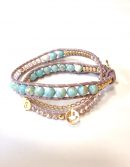 <img class='new_mark_img1' src='https://img.shop-pro.jp/img/new/icons1.gif' style='border:none;display:inline;margin:0px;padding:0px;width:auto;' />Initial Wrap Bracelet turquoise * イニシャル ラップブレス * ターコイズ * *