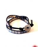 Wrap Bracelet square black × gray * ラップブレス * スクエア ブラック×グレー* *