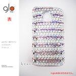 glo グロー 電子タバコ  ケース カバー デコ スワロフスキー キラキラ クリスタル、オーロラ、ホワイトのボーダー