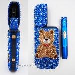【ブルーのIQOS本体キット込み】アイコス IQOS 電子タバコ サファイアブルー デコ スワロフスキー キラキラ テディベア ブルー系3色のMIX