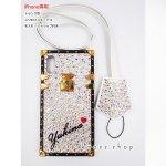 iPhone ジュエルボックス アイトランク風 スワロフスキー デコ ケース カバー 名入れ ストラップ付き クリスタル、オーロラベース