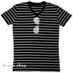 Tシャツ 半袖 メンズ Men's ボーダー ティーシャツ サングラス Vネック