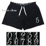 ショートパンツ ハーフパンツ 短パン スワロフスキー ナンバー 数字デザイン 小さいサイズ 大きいサイズ 短め