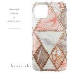 iPhone ケース スワロフスキー 大理石 ピンク