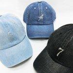 デニムキャップ 帽子 スワロフスキー イニシャル or ナンバー