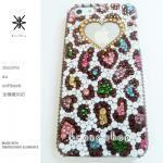 このサイト限定!キャンペーン中につき全機種が表示価格で制作!iPhone ケース スワロフスキー カラフル豹柄ハートMIX