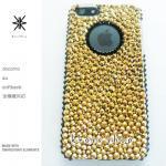このサイト限定!キャンペーン中につき全機種が表示価格で制作!iPhone ケース スワロフスキー 24金ゴールド(サイド、円、ブラック)