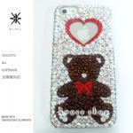 このサイト限定!キャンペーン中につき全機種が表示価格で制作!iPhone ケース スワロフスキー クマさん&ハート赤