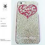 このサイト限定!キャンペーン中につき全機種が表示価格で制作!iPhone ケース スワロフスキー アンティークハート(ハート&サイド、ピンク)