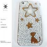 このサイト限定!キャンペーン中につき全機種が表示価格で制作!iPhone ケース スワロフスキー 星柄&ネコのシルエット(サイドゴールド)
