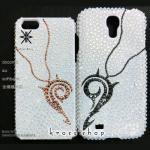 【全機種対応】iPhone、スマホ専用デコカバー ペアーハートネックレス(2個セット)