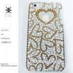キャンペーン中につき全機種が表示価格で制作!iPhone ケース スワロフスキー GOLDハートランダム(ホワイトベース)