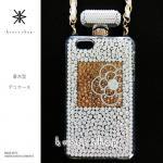 iPhone専用 香水型 デコ カバー ケース -ホワイトベースのカメリア柄-
