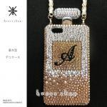 iPhone専用 香水型 デコ カバー ケース -ゴールドグラデーションベースのイニシャル入れ-