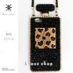 iPhone専用 香水型 デコ カバー ケース -ハート豹柄(ブラックベース、ゴールド)-