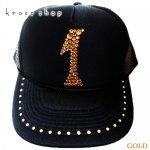 【0〜9選択可】キャップ ナンバー 数字 デザイン ブラック&ゴールド
