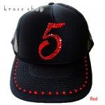 【0〜9選択可】キャップ ナンバー 数字 デザイン ブラック&レッド