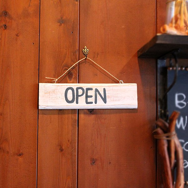 【バリ雑貨】Open&Closedボード/ホワイト